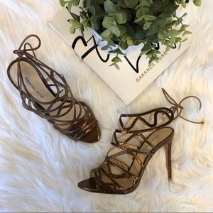 Alexandre Birman Melody Strappy Heels in Bronze 37